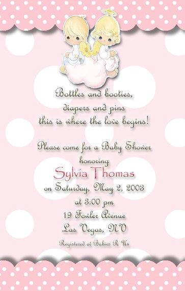Pink Polka Dots Precious Moments Baby Shower Invitations