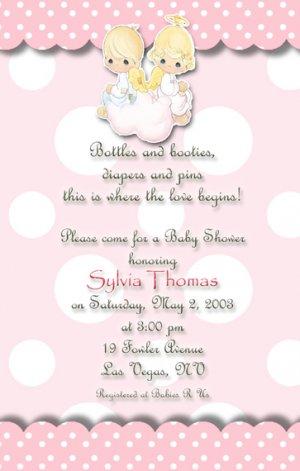 Polka Dots Precious Moments Baby Shower Invitations