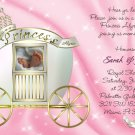 Princess Carriage Photo or Ultrasound Baby Shower Invitations in Pink