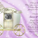Princess Carriage Photo or Ultrasound Baby Shower Invitations in Lavender