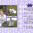 Three Photos Princess Crown Baby Shower Invitations in Lavender