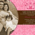 Brown and Pink Damask Princess Photo Baby Shower Invitations