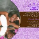 Brown and Lavender Damask Princess Photo Baby Shower Invitations