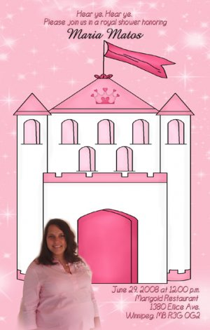 Castle Princess Photo Baby Shower Invitations in Pink -  Photo