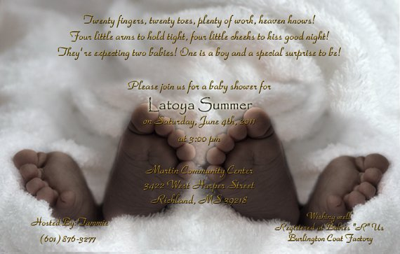 African American Twins Baby Shower Invitations Baby Feet