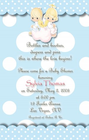 Angels precious moments baby shower invitations blue and polka dots filmwisefo