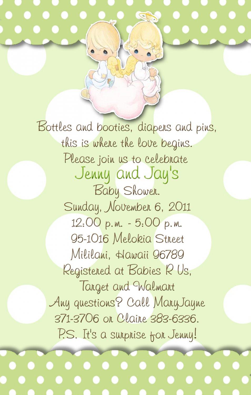 Precious Moments Baby Shower Invitations Green and Polka Dots