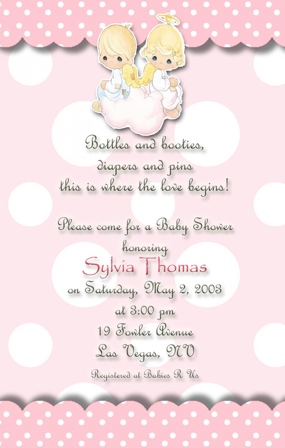 Angels Precious Moments Baby Shower Invitations Pink and ...