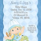 Delicate Blue with Paisley Precious Moments Baby Shower Invitations