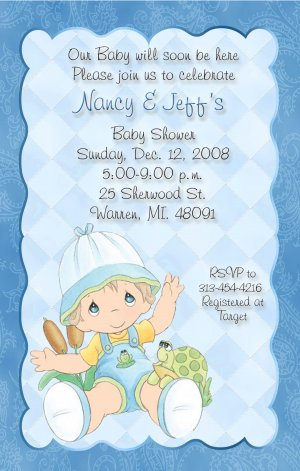 Delicate blue with paisley precious moments baby shower invitations filmwisefo