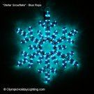 Stellar Snowflake Christmas Rope Light Display, Holiday Ornament, Blue