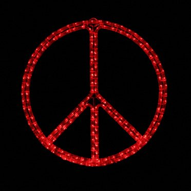 LED Peace Sign Lighted Rope Light Novelty Display, Red