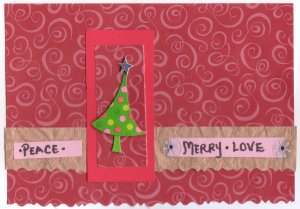 """Handcrafted Holiday Greeting Card - """"Peace, Merry, Love"""""""