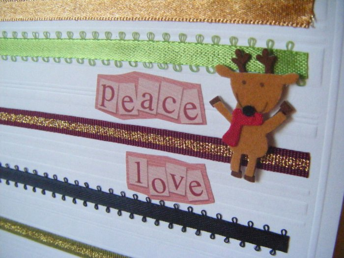 """""""Peace, Love"""" With Reindeer Greeting Card"""