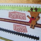 """Peace, Love"" With Reindeer Greeting Card"