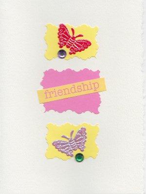 """Friendship"" Butterfly Theme Handmade Greeting Card"