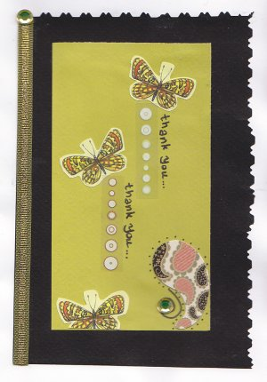 Handmade Thank You Greeting Card - Butterfly Theme
