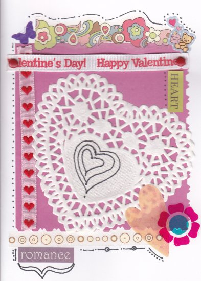 Colorful Handmade Valentine's Day Greeting Card with Paper Doily