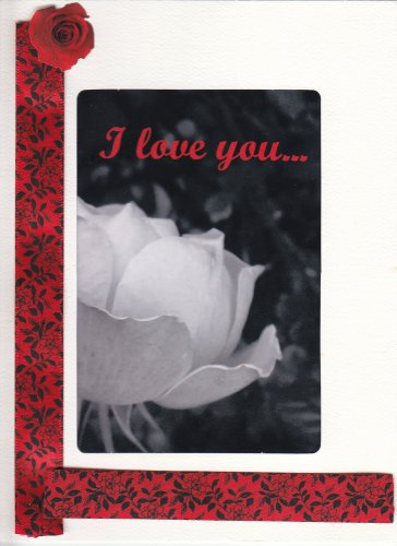 """I Love You"" Handcrafted Greeting Card With Rose Photo"