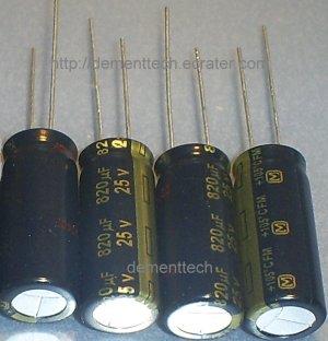 4x 820uF 25v Panasonic FM 105C Low-ESR capacitors