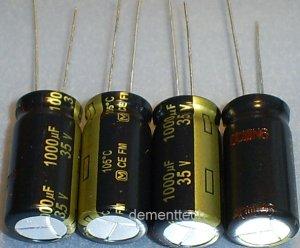 4x 1000uF 35v Panasonic FM 105C Low-ESR capacitors
