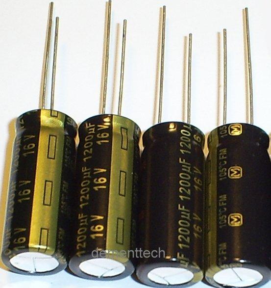 4x 1200uF 16v Panasonic FM 105C Low-ESR capacitors