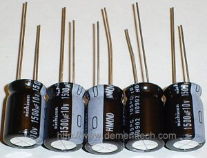 5x 1500uF 10v Nichicon HM 105C 10mm Ultra Low-ESR capacitors