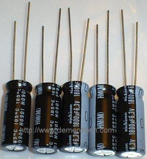 5x 1800uF 6.3v Nichicon HM 105C 8mm Ultra Low-ESR capacitors caps