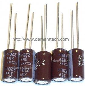 5x 220uF 35v Nippon KY 8mm 105C Low-ESR Long Life capacitors