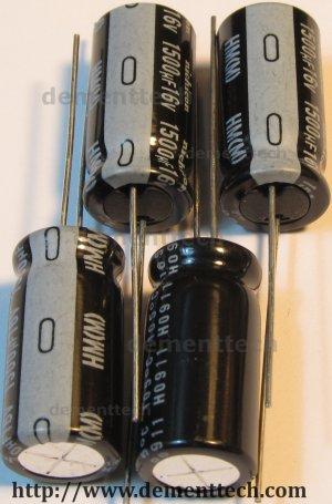 4x 1500uF 16v Nichicon HM 105C 10mm Ultra Low-ESR capacitors