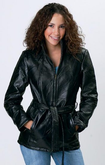 Italian Stone Design Genuine Leather Ladies' Jacket - Size M