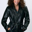 Italian Stone Design Genuine Leather Ladies' Jacket - Size L