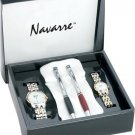 Navarre Mens and Ladies 2 Tone Watch and Ball Point Pen Set
