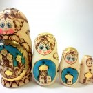 "Nesting doll wood burn 6"" five pc"