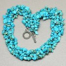 "17 7/8"" BLUE TURQUOISE HOWLITE GEMSTONE CHIP BAND NECKLACE"