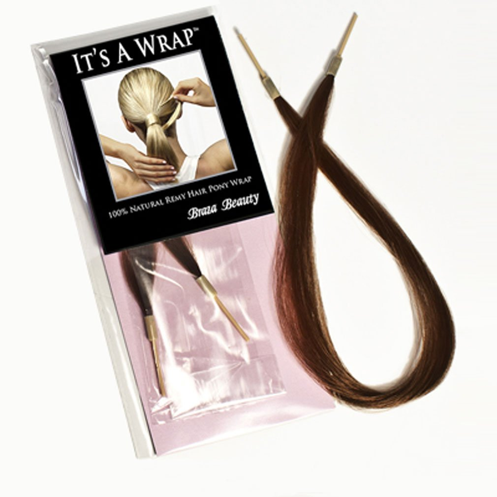 Braza It's a Wrap Hair Piece Straight Hair Extension Ponytail Hair Wrap S23110, Medium Brown Red