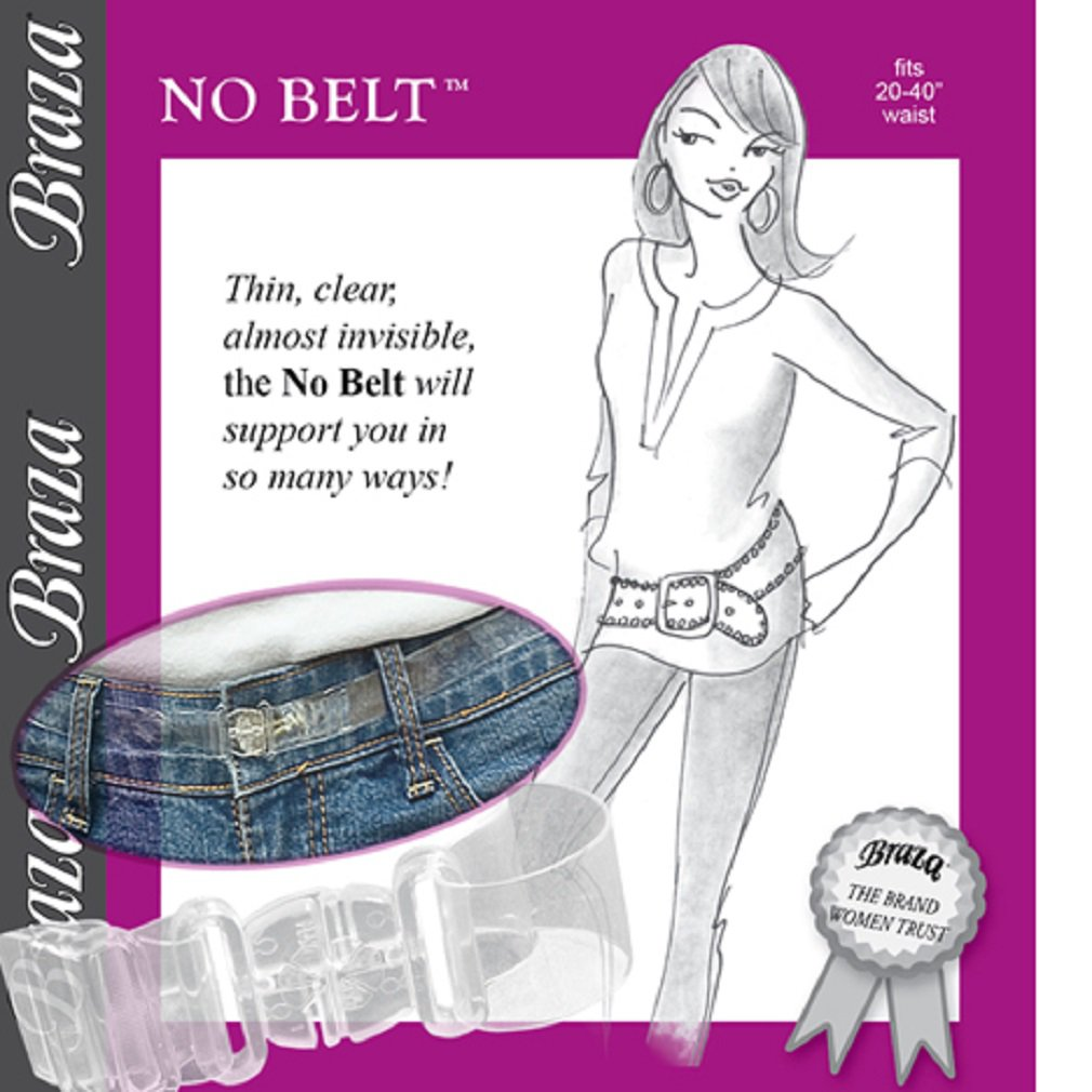 """Braza No Belt - Invisible, Adjustable, Clear, Fits 20"""" - 36"""" Waist, S4401"""