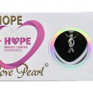 Pink Ribbon Hope Love Wish Pearl Kit Cultured Pearl Necklace Set with Stainless Steel Chain 16""