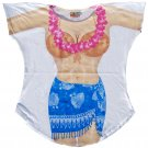 Sexy Fantasy Bikini Swimwear Swimsuit Cover Up Oversized T-Shirt - Coconut Bra Top with Blue Sarong