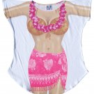 Plus Size Sexy Bikini Swimwear Swimsuit Cover Up T-Shirt - Coconut Bra Top with Hot Pink Sarong