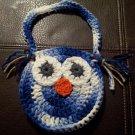Crocheted Owl Purse BLUE