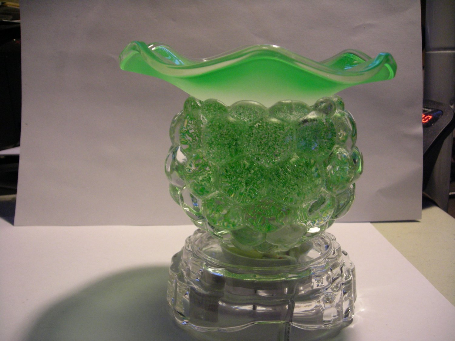 Frosted Green ELECTRIC Wax  WARMER Lamp