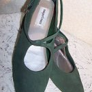Vintage Shoes Re Enactor Renaissance Flats LARP Theater GreenSuede SCA NICE 10M