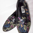 Vintage Shoes Skimmers Kitten Flats Pumps Embroidery Design Abstrax Shoes 9M