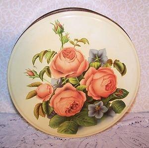Vintage Metal Tin Original Paper Pic Cookies Romantic Prairie Country Roses Chic
