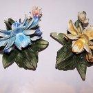 Vintage Capodimonte Naples Italy Italian Art Porcelain Handmade Flowers 2 pieces