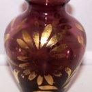 Vintage Vase Purple Anchor Hocking 2pc Gold Floral Accent Romantic Chic Amethyst