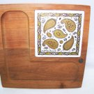 Georges Briard Wood Cheese Tray w Signature Paisley Tile Vintage Retro 1960s 70s