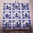 Vintage Tile Delft Blauw Holland Kate Greenway 9 Scenes on 1 Tile Blue Dutch Art