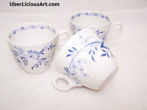 Vintage Furnivals Blue Staffordshire Onion 1890s Stafforshire England 3 Tea Cups